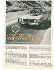1975 RENAULT 17 GORDINI COUPE-CONVERTIBLE ~ ORIG 4-PG ROAD TEST / ARTICLE / AD