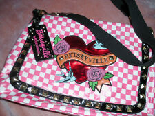 RARE Betsey Johnson  Pink Checker Laminated Bluebird Heart Rose Bag