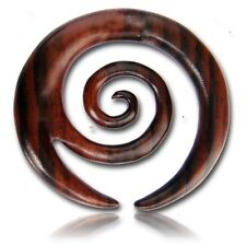PAIR 6G (4MM) SPIRALS SONO WOOD TALONS PLUGS EAR PLUG HANGER GAUGE TRIBAL