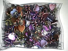 Mini Claw Heart Snap Hair Clips Dark Chrome Metallic Colors Styling Lot of 144