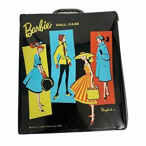 VINTAGE BARBIE Matel Small Black Ponytail Doll Carrying Case 1961 Compartments