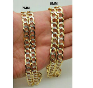 """14K Diamond Cut Cuban Curb Link Necklace Chain 8mm 20"""" -30"""" REAL 14K SOLID GOLD"""