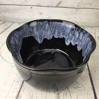 Pottery Planter Mid Century Modern Art Black White Drip Glaze Ruffle Bowl USA