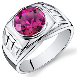 Mens 5.5 cts Round Cut Ruby Sterling Silver Ring Sizes 8 To 13