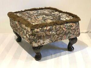 Vintage Tapestry Floral Footstool Dark Wood Cabriole Legs