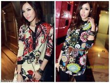 3/4 Sleeve Casual Floral Regular Size Tops for Women