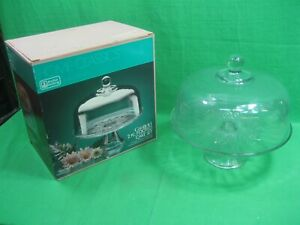 Vintage Anchor Hocking Glass Canfield 2 Piece Footed Cake Set ~ Domed Lid ~ USA