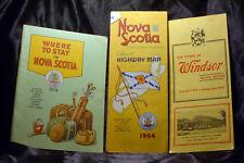 LOT 3 Vintage 1954 NOVA SCOTIA Map Where to Stay Windsor Brochure Canada