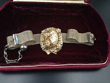 Vintage Miriam Haskell Signed Mesh Choker Necklac Earring Baroque Pearl Crystals