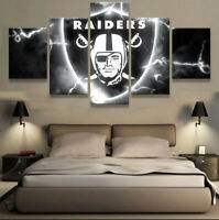 Oakland Raiders Nation 5 pcs Painting Printed Canvas Wall Art Home Decorative
