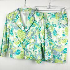 Tahari Women's Skirt suit w/Blazer Size 8 Green/Blue print NEW