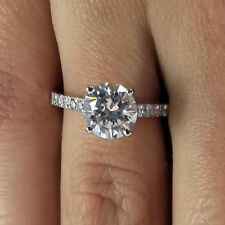 Real White Gold Finish Silver 6 Band Round Cut 1.40 Ct Diamond Engagement Ring