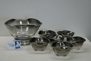 Vintage 7 Pc Dorothy Thorpe Salad Bowl Set - Silver Fade w/ Wavy Edge