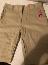 Nwt Izod Girls Boys Childrens Bermuda Khaki Tan Skinny School Shorts  Sz 10 Slim