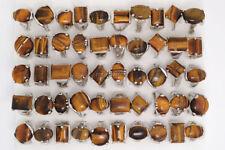 Wholesale lOTS 20Pcs Mixed Natural Tiger Eye Gemstone Silver P Rings FREE