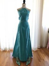 Nicole Miller Women's Knot Back Silk Turquoise Two Piece Gown Party Dress Sz 6
