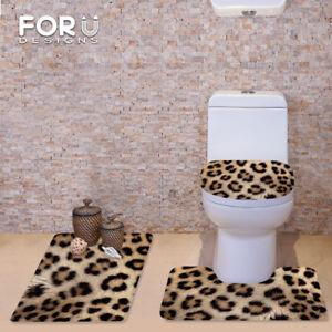 Leopard Print Flannel Toilet Mat Covers Bathroom Shower Rug Carpet 3 Pieces/Set