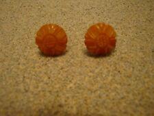 Pair Butterscotch Bakelite Screw Back Earrings! Lovely Flower Inspired Carvings!