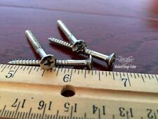 "4 Modern Vintage Guitar #8 x 1 1/2"" Phillips Oval Head Short Neck Screws Nickel"