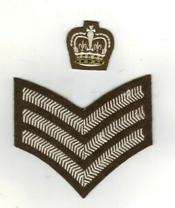 BRITISH ARMY COLOUR/STAFF SERGEANT INSIGNIA FOR NO 2 DRESS  UNPADDED CROWN
