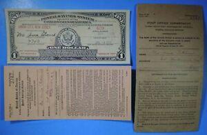 Series of 1917 Postal Savings System US $1 One Dollar Bond Union City NJ 1933
