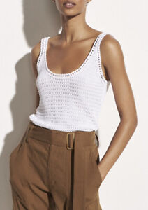 Vince Crochet Tank in White. NWT. Size Small. Retail- $225