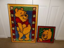 """2 Winnie The Pooh COMPLETED and FRAMED Latch Hook Wall Hangings 32"""" x 22"""""""
