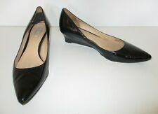 Cole Haan Wedge Heel Pumps 9B Women black patent leather pointed toe
