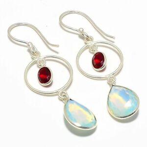 """Milky Opal, Garnet Gemstone Handmade Ethnic Silver Jewelry Earring 2.2"""" RJ4077"""