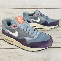 Nike Air Max 1 Essential Blue Purple White Leather Suede Running Shoes Size 6