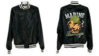 Vintage Marine Bulldogs Bomber Satin Windbreaker Jacket Insulated 1989 Mens M