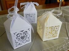 Lovely Ivory or White Laser Cut Favour Boxes in 2 Designs. 10 per Pack