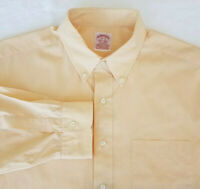 🔥  BROOKS BROTHERS 1818 Peach Long Sleeve Cotton Dress Shirt SIZE 17 - 35