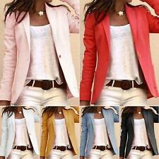 Women Long Sleeve Formal Slim Blazer Suit Tops Office Business Plain Jacket Coat