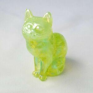 """RARE Vintage Uranium Mosser Slag Glass cat Vaseline Carnival yellow green 3"""""""