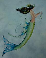 Completed Mirabilia Nora Corbett Cross Stitch - Mermaid Azure - Beautiful Blue
