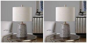 "PAIR 23"" DURON TEXTURED CERAMIC TABLE LAMP BRUSHED NICKEL METAL UTTERMOST"