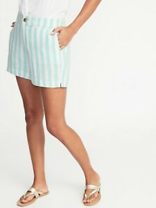 Old Navy NWT Womens Flat Front Linen Everyday Shorts 10 Light Blue Ivory F5