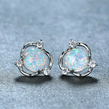 Classic Round Blue White Fire Opal Gems Rose Gold 925 Silver Hook Stud Earrings