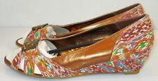 SHARIF Women's Bronze Egyptian Multi Color Wedge Open Toe 315609 Heels Size 7.5M