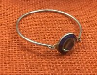 Vintage Sterling Bracelet Mexico Abalone Inlay Cobalt Locking front Bangle