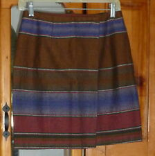 MY MICHELLE Wrap SKIRT Brown Striped Purple & Pink Acrylic Cotton 28 X 18 size 7