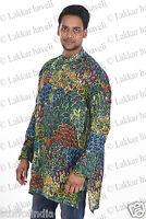 Indian Rayon Cotton Floral Print Men's Shirt Kurta Tunic Plus size 5xl 6xl 7xl
