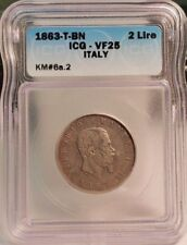 1863-T-BN Italy Silver 2 Lira - ICG Certified VF25  KM# 6A.2 ~GREAT COIN~
