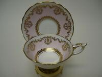 Vintage Royal Stafford GORGEOUS Pink & Gold Pedestal Tea Cup Saucer Set 8738