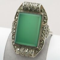 Vtg 1930s Art Deco Sterling Silver Natural Chrysoprase Marcasite S 7.25 Ring