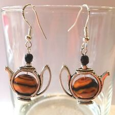 10 MM TIGER STRIPE BEAD & CRYSTAL ACCENT TEA POT EARRINGS-925 SILVER EAR WIRES