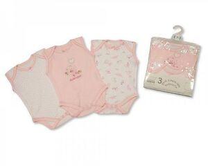 Nursery Time Girls 3 Pack Sleeveless Body Vest Bodysuit 00-24 Months Cotton Baby