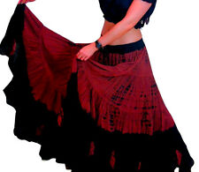 "25 Yard Tribal Belly Dance Dancing Cotton Skirt Gypsy Black Maroon L36"""