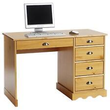Bureau avec rangement 5 tiroirs et poignées coquille, en pin massif lasuré miel